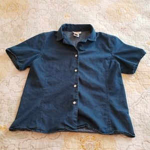 Talbots Shortsleeve Denim Button Down